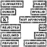 Set of rubber stamps with messages refused, rejected, cancelled, Stock Photo