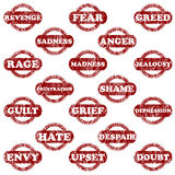 Set of rubber stamps with negative emotions Royalty Free Stock Photo