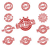 Set of Rubber Stamps sale Royalty Free Stock Image