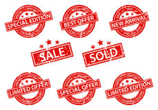 Set of Rubber Stamps sale Stock Photos