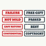 Set of rubber stamps with various texts. Vector Royalty Free Stock Image