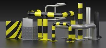 Set rubbing strakes. 3D render metal corner protectors and protective bars Stock Images