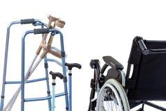 Set ruchliwość pomoce wliczając wózka inwalidzkiego, piechura, szczudeł, kwadrat trzciny i szczudeł, zdjęcie royalty free