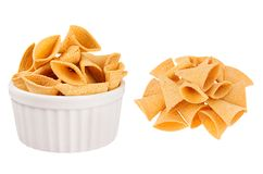 Set of ruddy beers triangles snack as heap and in ceramics bowl isolated on white background. Fast food template for menu, advertising, cover Royalty Free Stock Photography