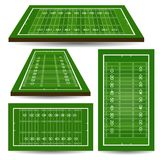 Set of rugby fields with perspective. American football Stock Photos