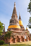 Set of ruin pagoda in Ayutthaya. Set of ruin pagodas in Ayutthaya Thailand with blue sky Stock Photo