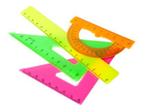 Set: ruler, triangle, protractor Royalty Free Stock Photo