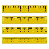 Set of rulers with scale and numbers. Vector illustration stock illustration