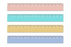 Set rulers of school different colors 15 centimeters. Vector design elements on isolated white background. Eps royalty free illustration
