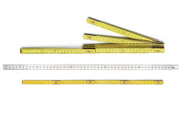 Set of rulers, yellow and silver Stock Photo