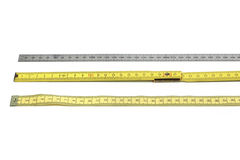 Set of rulers, yellow and silver Stock Photography