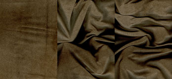 Set of rumpled brown suede leather textures Stock Photography