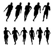 Set runners sprinters men and women. Black silhouette running group Royalty Free Stock Photo