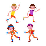 Set running boy and girl in winter and summer. In sportswear Stock Photos