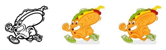 Set running cartoon hot dog royalty free illustration