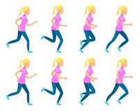 Set of Running Girl. Variety of Sport Movements. Set of icons with running girl. Sport. Run. Active fitness. Exercise and athlete. Variety of sport movements Stock Photography