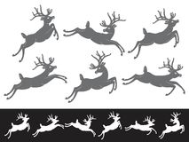 Set of running and jumping Christmas Reindeers Royalty Free Stock Image