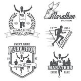 Set of running marathon and jogging emblems. Labels and badges. isolated vector illustration Royalty Free Stock Photography