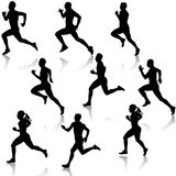 Set running silhouettes. Vector illustration. Stock Photography