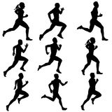 Set running silhouettes. Vector illustration. Royalty Free Stock Photos