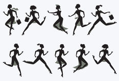 Set running silhouettes. Vector illustration. Isolated on white background Stock Image