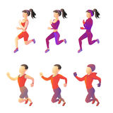 Set running sport young people of different sportswear. athletes vector images. On a white background. Characters runners man and woman all seasons Stock Images