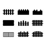 Set of Rural Black Fences Silhouettes Stock Photo