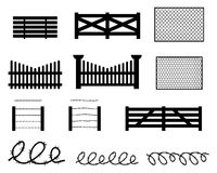 Set of rural fences in silhouette style Royalty Free Stock Photo