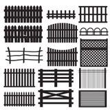 Set of rural fences types. Stock Photos