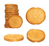 Set rusks with wholewheat flour, light, dry biscuit or piece of twice-baked bread, integral bread isolated on white Royalty Free Stock Photo
