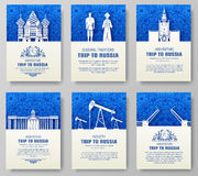 Set of Russia country ornament illustration concept. Art traditional, poster, book, poster, abstract, ottoman motifs Stock Images