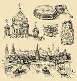 Set of Russia hand-drawn icons Royalty Free Stock Image