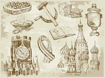 Set of Russia hand-drawn icons Royalty Free Stock Images