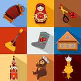 Set of Russia travel colorful flat icons, Russian. National symbols with long shadow for your design. Vector illustration Stock Photos