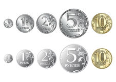 Set of Russian coins rouble Stock Photo