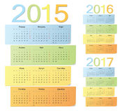 Set of russian 2015, 2016, 2017 color vector calendars.  royalty free illustration