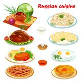 Set of Russian cuisine with soup, dumplings pancake Stock Photography
