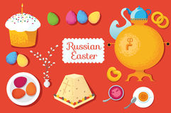 Set Russian Easter food. Food illustration with Easter cake, egg. S, Easter curd dessert and willow branches, samovar, cup, jam Stock Photo