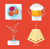 Set Russian Easter food. Food illustration with Easter cake, egg. S, Easter curd dessert and willow branchesr Stock Photos