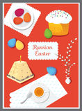 Set russian Easter food. Food illustration russian cuisine with Royalty Free Stock Photo