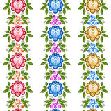 Set of Russian Gorodets borders. Set of floral seamless ornamental borders in Russian style. Russian handicraft Gorodets painting. Vector illustration Stock Photos