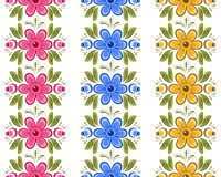 Set of Russian Gorodets borders. Set of floral seamless ornamental borders in Russian style. Russian handicraft Gorodets painting. Vector illustration Royalty Free Stock Image