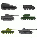 Set of the russian military combat vehicle. Flat design.Set of the military combat vehicle vector illustration