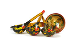 Set of russian national artistic wooden spoons Royalty Free Stock Photos