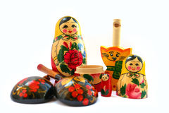 Set of russian national artistic wooden whistle cat, painted sp Royalty Free Stock Photo