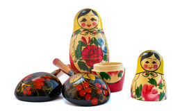 Set of russian national artistic wooden whistle cat, painted sp Royalty Free Stock Image