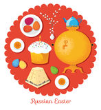 Set Russian national Easter food. Food illustration russian  Stock Photo