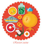 Set Russian national food. Illustration cuisine Stock Photos