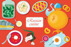 Set Russian national food.  illustration  cuisine wit Royalty Free Stock Images