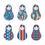 Set of russian traditional wooden toys, babushka, matryoshka Royalty Free Stock Images